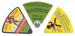 Cheese Labels - Fromage Swiss Suisse - Gruyère Swiss Knight Gerber - Sunrise Emmental Goldbach - Negerli Petit Nègre - Fromage