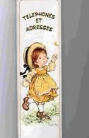 AGD1   222  SARAH  KAY .LUXUEUX  AGENDA TELEPHONE ADRESSE.31 X 9 .TRANCHE DOREE  FILLETTE  PAPILLON.  ..    Année 70 - Calendars