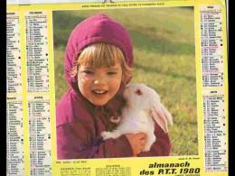 CAL772   CALENDRIER  ANNEE 1980 . LAPIN  BRAQUE.  2 Volets Voir Photos Feuillet. AISNE - Big : 1981-90