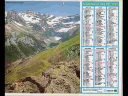 CAL808  CALENDRIER  ANNEE 1982 .PYRENEES GAVARNIE + BERZE LE CHATEL  .  2 Volets Voir Photos Feuillet...AISNE - Big : 1981-90