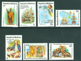 Maldive Island 750-757 Capt James Cook, Set/7 & SS, Mint Never Hinged - Maldives (1965-...)