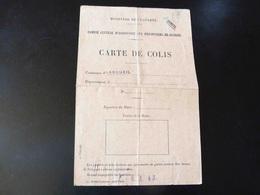 CARTE DE COLIS  -  MINISTERE DE LA GUERRE -  COMMUNE D'ARCUEIL  _ - Maps
