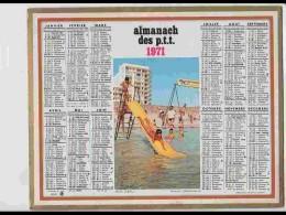 CAL607  .CALENDRIER  .ANNEE  1971 .TOBBOGAN PLAGE.. Feuillets...AISNE - Calendars