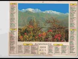 CAL617  .CALENDRIER  .ANNEE  1971  .ALPES  ETE  .  2volets  Voir  Photos Feuillets .loiret - Calendars