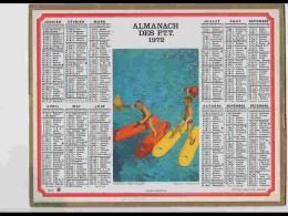 CAL618  .CALENDRIER  .ANNEE  1972 .SKIS  D ' EAU     Voir  Photos Feuillets ..AISNE - Calendars