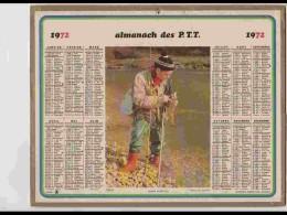 CAL619  .CALENDRIER  .ANNEE  1972.   PECHEUR  GROS  POISSON  Voir  Photos Feuillets ..AISNE - Calendars