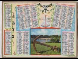 CAL621  .CALENDRIER  .ANNEE  1972. FINISTERE  BENODET  BRETAGNE  ANCRE .voir  Photos Feuillets ..Nord - Calendars