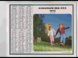 CAL635  .CALENDRIER  .ANNEE  1972. ENFANTS GAMBADES.  2 Volets  Voir  Photos   Feuillets..AISNE - Calendars