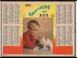 CAL640  .CALENDRIER  .ANNEE  1973...ENFANT AU CHAT  ANGORA   Voir Photos  Feuillets.. NORD - Calendars