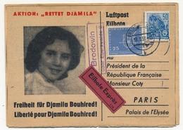 Carte Pétition Pour La Libération De Djamila Bouhired - 1958 - DDR => Président Coty (Guerre D'Algérie) - [6] Democratic Republic