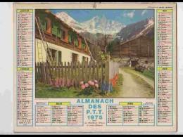 CAL690.  CALENDRIER  .ANNEE  1975.  HAUTE SAVOIE  DRU  CHALETS...  2 Volets Voir Photos  Feuillets...NORD - Calendars