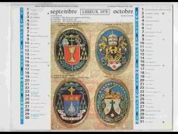CAL725  CALENDRIER  ANNEE 1978 . SAINTE THERESE DE LISIEUX. ARMOIRIES..+  Voir Photos .Feuillets..44 X 28. Almanach - Calendars