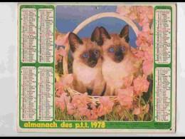 CAL732  CALENDRIER  ANNEE 1978 .SIAMOIS  Chats  Fillette. Caniche. Voir Photos .Feuillets. .AISNE. Almanach - Calendars