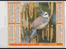 CAL734  CALENDRIER  ANNEE 1978 .MESANGE OISEAU  + COLLEY   Voir Photos .Feuillets. .AISNE. Almanach - Calendars