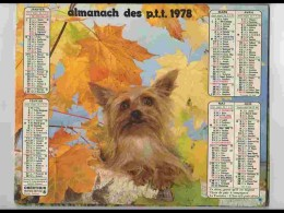 CAL742  CALENDRIER  ANNEE 1978 ..CANICHE Japon Chine  + CHAT .   Voir Photos .Feuillets. .aisne. Almanach - Calendars