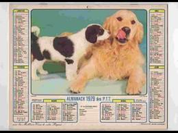 CAL758  CALENDRIER  ANNEE 1979 .COUPLE  CHIENS   CHIOT .2 Volets. Voir Photos Feuillets..HERAULT  Almanach - Calendars