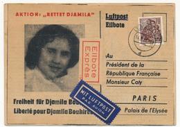 DDR / FRANCE - Carte Pétition Pour La Libération De Djamila Bouhired - 1958 => Président Coty (Guerre D'Algérie) - Marcophilie (Lettres)