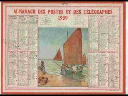 CAL326  ALMANACH  De 1939 ..RETOUR  DE  PECHE   BRETAGNE Signé LABOURE  +   Corréze - Calendars