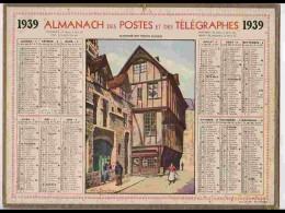 CAL327  ALMANACH  De 1939 ... Signé BOUDIES   VIEUX  ROUEN  Animé  NORMANDIE  +   Corréze - Calendars