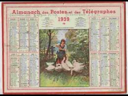 CAL328  ALMANACH  De 1939 ... Signé. NEMECEK  GARDEUSE D' OIES   +   .Hérault - Calendars