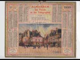 CAL332  ALMANACH  De 1939 . .QUIMPER   TERRE AUX DUCS  PLACE  Signé DUDORET   BRETAGNE  + Puy De Dome - Calendars