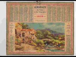 CAL333  ALMANACH  De 1939 .MENTON  VALLEE   Signé  LESSIEUX  ALPES MARITIMES + Puy De Dome - Calendars