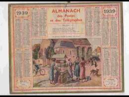 CAL336  ALMANACH  De 1939 .CREUSE  BOURG CREUSOIS   FEMMES PUITS  VELO CHIENS . Signé   Beuzon .  . - Calendars