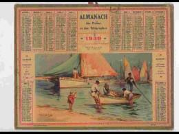 CAL337  ALMANACH  De 1939 .Signé LESSIEUX  .ILE D ' OLERON  PECHEURS  CHARENTE MARITIME - Calendars