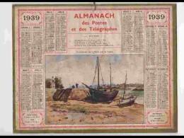 CAL338    ALMANACH  De 1939 .Signé. LA   LANDRIAIS   SUR  RANCE  DINARD  ILLE ET VILAINE  + Puy De Dome Barques - Calendars