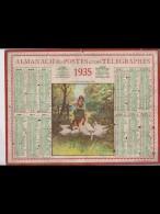 CAL343   ALMANACH  De  1935   Signé NEMECEK  JEUNE GARDEUSE D ' OIES  Nord Lille - Calendars