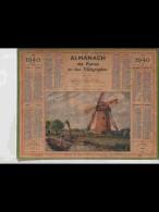 CAL350  ALMANACH  De  1940  ..CALAIS  CALAISIS MOULIN D' ASSECHEMENT      Signé  MONNATTE Simon  +  . - Calendars