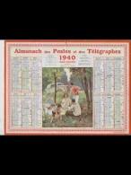 CAL360    ALMANACH  De  1940.  Signé  NEMECEK  .PIQUE NIQUE   FEMME ENFANTS  JOIE .AUTO      +..Hérault - Calendars