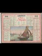 CAL364   ALMANACH  De  1940...RETOUR  D ' UN  SARDINIER    Signé  .NEMECEK  BRETAGNE  Marins Pecheurs   +.... - Calendars