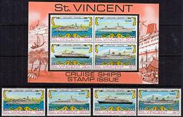 A5538 SAINT VINCENT 1974, SG 387-MS391  Cruise Ships,  MNH - St.Vincent (1979-...)