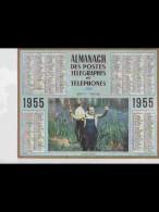 CAL449   ALMANACH  ANNEE  1955   .PECHE  En Riviére    Photo .LANDAU   Calendrier . +   NISSE CROIX à LILLE NORD.. - Calendars
