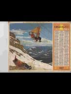CAL470   ALMANACH  ANNEE  1957 .ALPES  SUISSE  TELEPHERIQUE Et Second Volet :  CROISIERE Voir Photos . Calendrier. ..+ . - Calendars