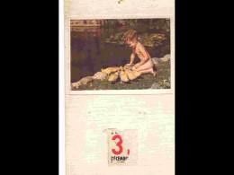CAL1 - 058  CALENDRIER  1950. .FILLETTE  NUE  AUX CANNETONS  CANARDS PUBLICITE  . .environ 30 X 18 - Calendars
