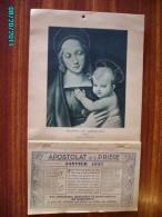 CAL1    P0373  . APOSTOLAT DE LA PRIERE  1937   VIERGE  JESUS  MADONE DU GRAND DUC   RELIGION 32 X 18   Imp : Toulouse - Calendars