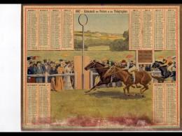 CAL243   ALMANACH  DES POSTES  1907  .arrivée Course Hippique  Oberthur   BAS TACHé - Calendars