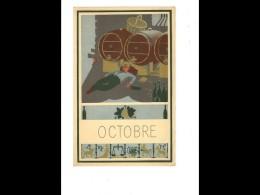 CAL017   1952  .OCTOBRE   VENDANGES   VIN  ..  24 X 15,5 Cm   CALENDRIER ..du Mois Au Dos Pub    . - Calendars