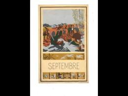 CAL019  1952  .SEPTEMBRE  Dessin De POEY  CHASSE  VIGNE  CHASSEURS  24 X  15.5 CM - Calendars