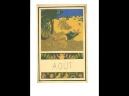 CAL020   1952  ..AOUT   MOISSONS  BLE   SIESTE  DESSIN DE POEY   24 X 15,5 Cm   CALENDRIER ..du Mois Au Dos Pub    . - Calendars