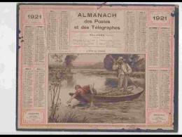 CAL211   ALMANACH DE 1921  PECHE AU FLOTTEUR  Feuillets Sur Hérault  VOIR SCAN - Calendars