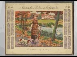 CAL212   ALMANACH DE 1921 .AUTOMNE FEMME  EPAGNEUL  AQUA DE BEUZON   Double Volet Hérault  VOIR SCAN - Calendars