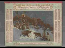 CAL214   ALMANACH DE 1922.. LOUPS  ET  SANGLIERS  AQUA De DUDORET  ETAT PARFAIT Double Volet Hérault - Calendars
