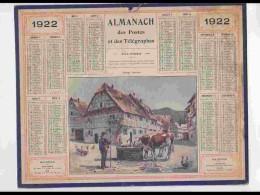 CAL216   ALMANACH DE 1922.  ALSACE    VACHES VILLAGE PAYSAN. .. - Calendars