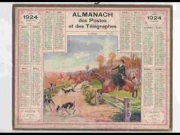 CAL224   ALMANACH DE 1924.. LE DEBUCHE  CHASSE HIPPISME  FEMME CAVALIERE  RHONE. - Calendars