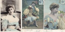 3 Cartes - Actrices - Sylvie -Liliette - Mlle Minty - Artistes