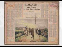 CAL236   ALMANACH DE 1928.. .PANNE   CHARRETIER  AUTO    AISNE - Calendars