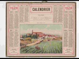 CAL237   ALMANACH DE 1928.. ALAIRAC  AUDE  EGLISE.. LABOUR VIGNE - Calendars